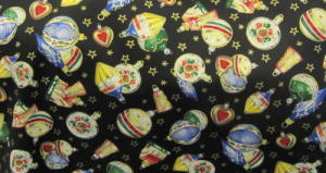 Fabric with Christmas Baubles on black background