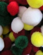 red, green,yellow and white pom poms