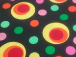 Fabric Swatch Coloured discs on Balck Background
