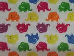 Red Green Yello Blue Elephants on White Background