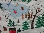 fabric printed with fir trees, ice skating pond with skaters decidious trees