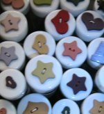 pink,red, blue, cream, heart and star shaped buttons