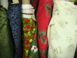 Rolls of Christmas Fabric