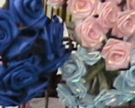 bunches of ribbon roses on a rack