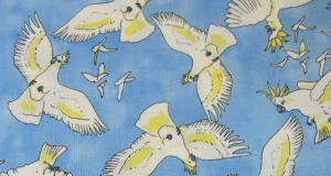 Sulphur Crested Cockatoos 100% Cotton Fabric